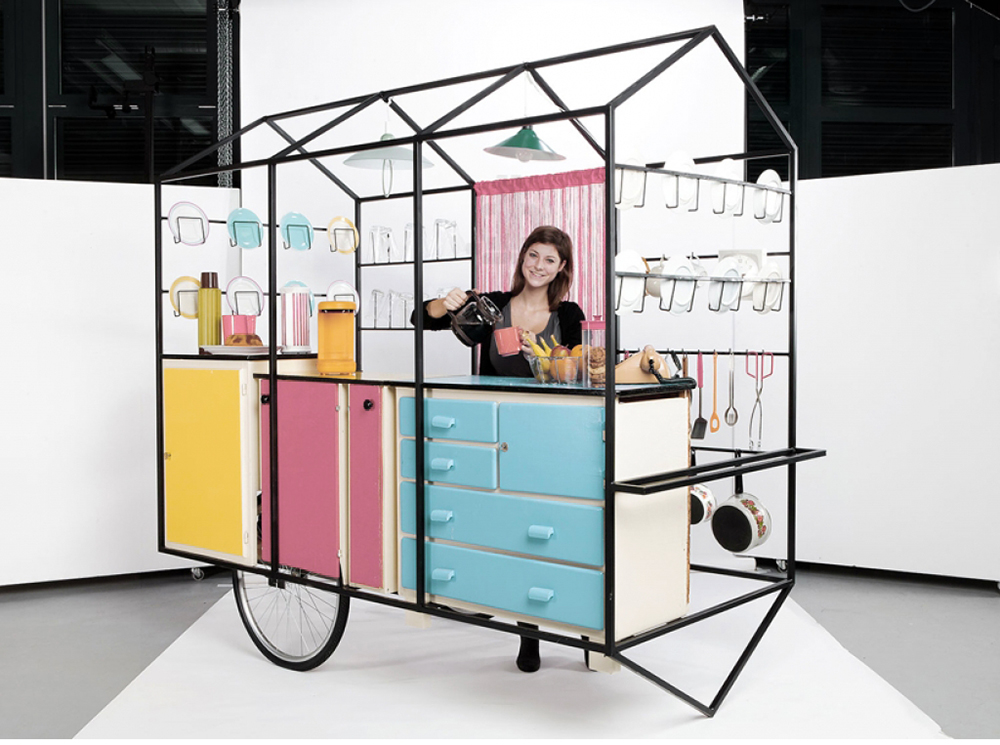 Under the direction of  Bureau A , students of the  Geneva University of Art and Design  have completed a mobile exhibition set of modules – with a fully sized realization of the kitchen concept.