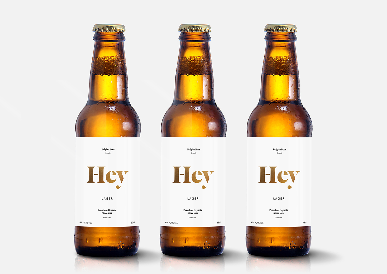 Elegant and friendly bottle design for  Hey Beer by  Dimitris Kostinis