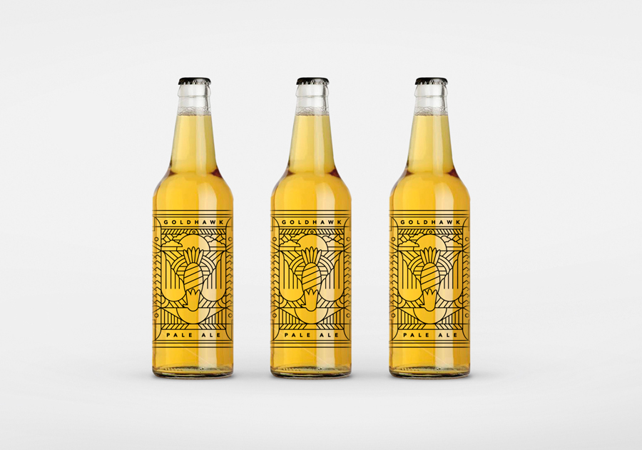 Don't Try Studio  conjured up some beautiful line work for the label design of Goldhawk craft beer.
