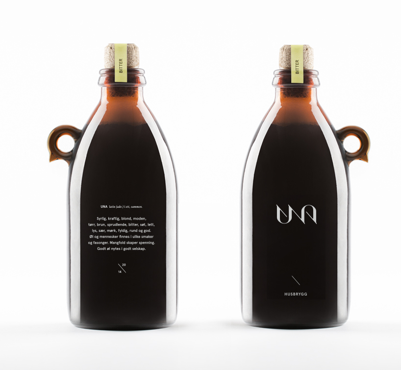 Norwegian branding agency,  KIND  created a simple design for the identity of for Una Brewery's beer bottles. The logo is designed as an ambigram. The name Una comes from Latin. It means 'together' or 'in one'. Togetherness is the essence of the concept.