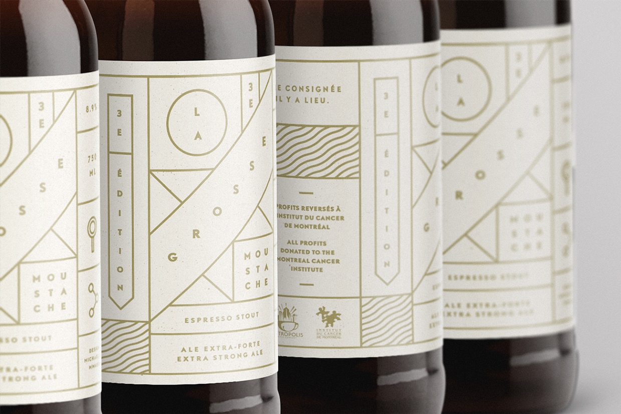 Art Director  Michael Mason  created the packaging design for La Grosse Moustache, a limited run of espresso stout produced annually in by Chez Latina, in Montréal, Canada.