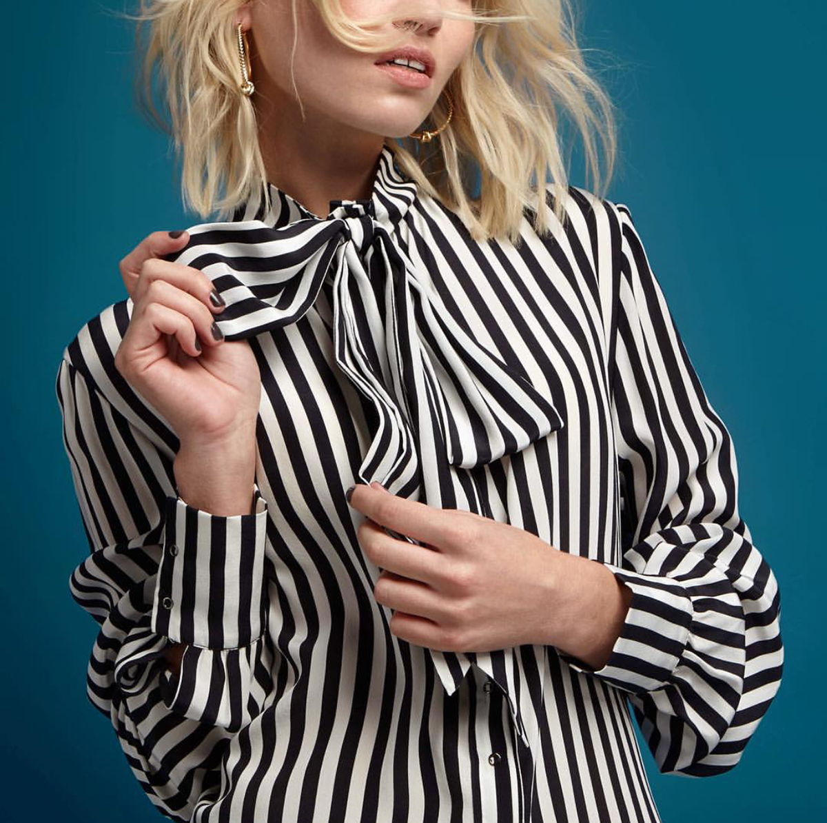 Inigo Bow Front Stripe Blouse  by House of Hackney