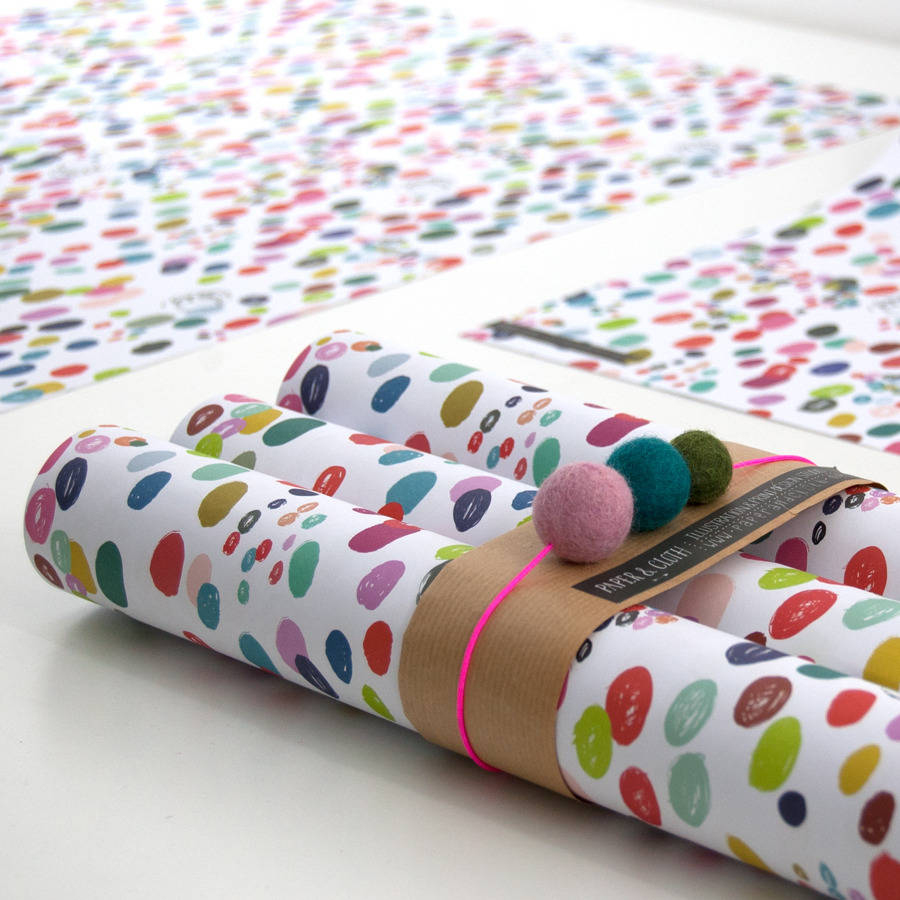This polka dot wrapping paper is fun and artistic for the holidays!