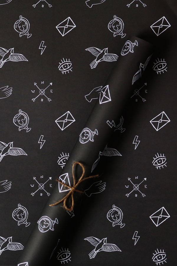 Unique black and white wrapping paper for the holidays