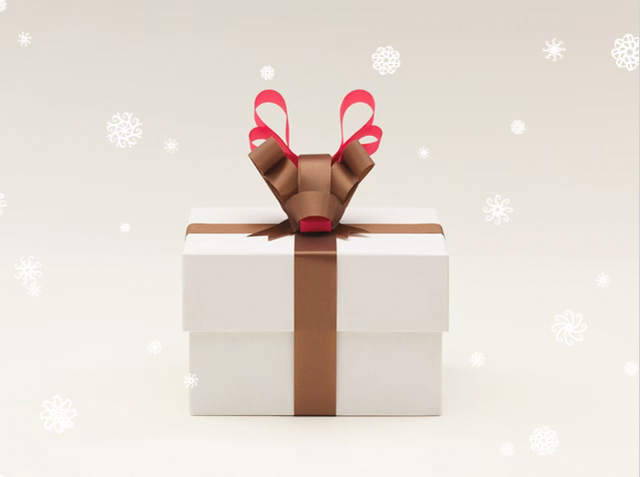 Reindeer bow gift wrap