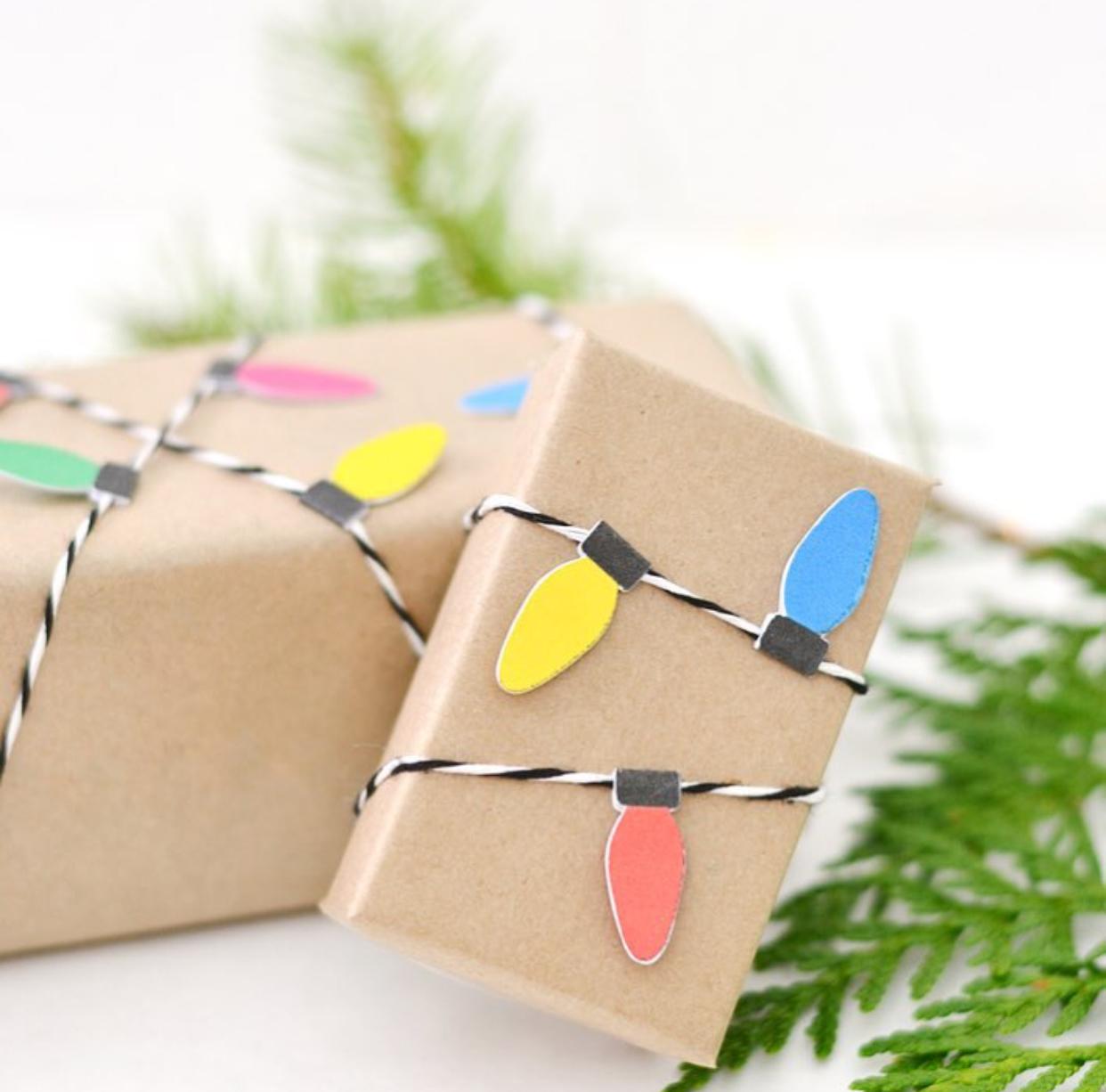 DIY christmas light gift wrap