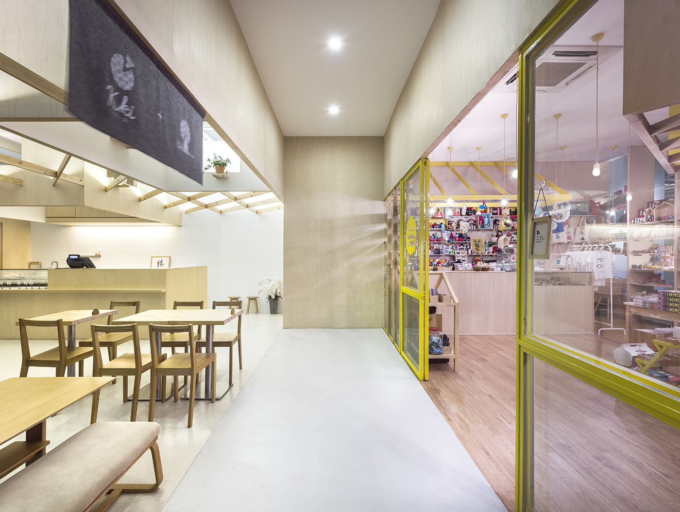 In a happily shared space at the School of the Arts (SOTA) building in Singapore, food-meets-art with a PRODUCE designed retail mash-up of Kki Sweets and Little Dröm Store.