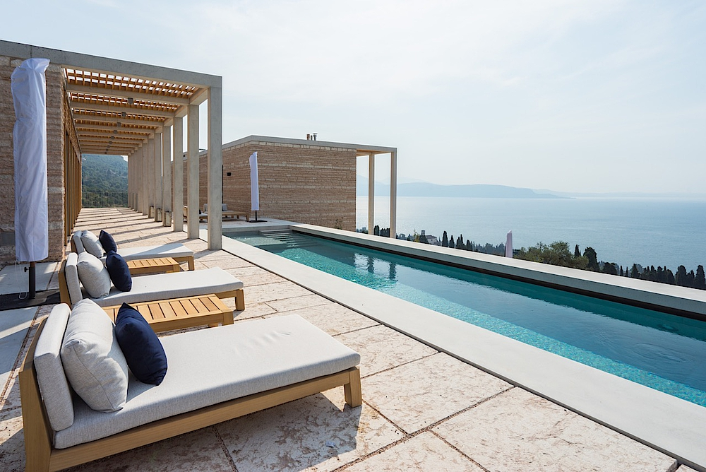Stunning view of Lake Garda from the poolside of Villa Eden