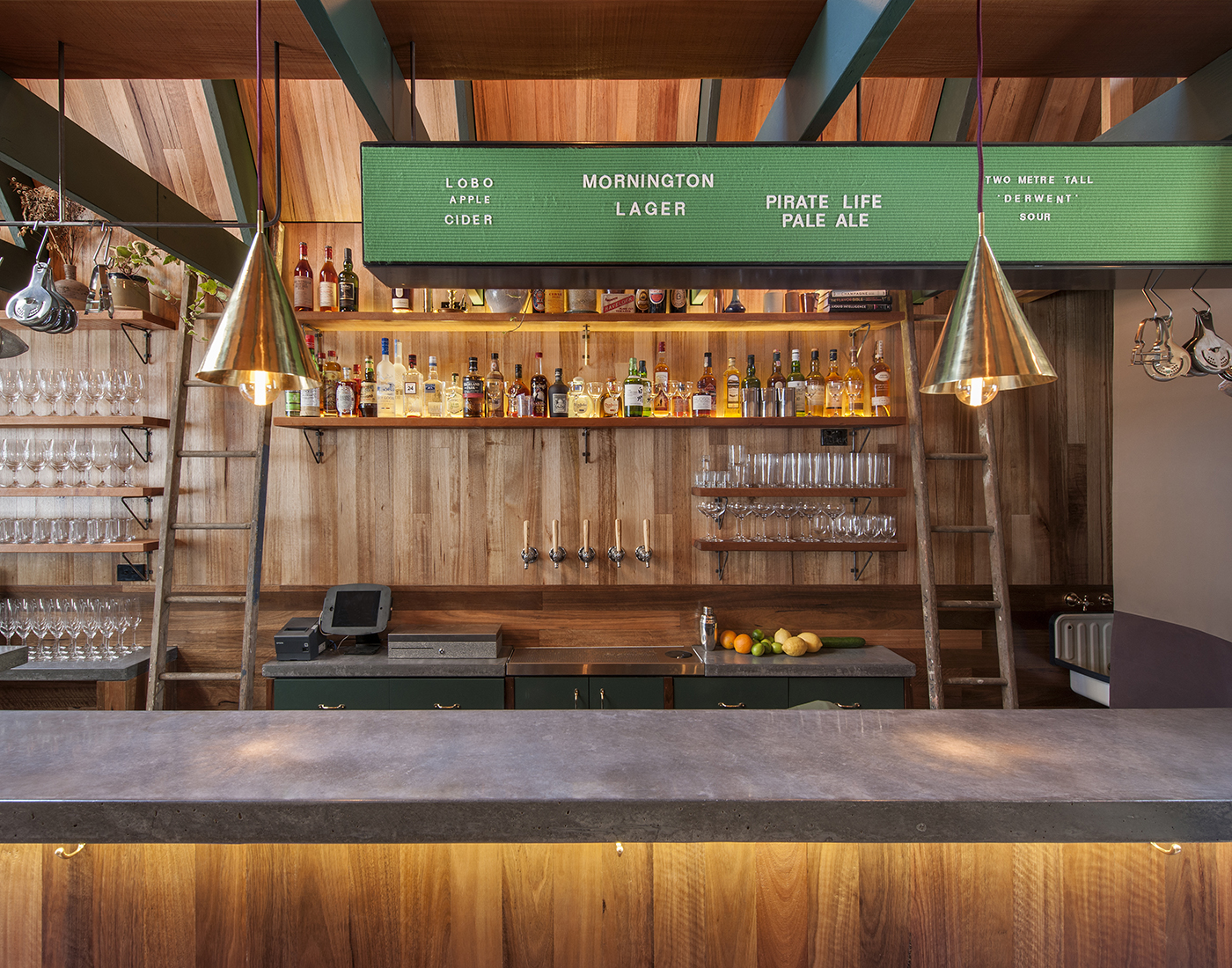 The timber bar at Adelaide's Pink Moon Saloon