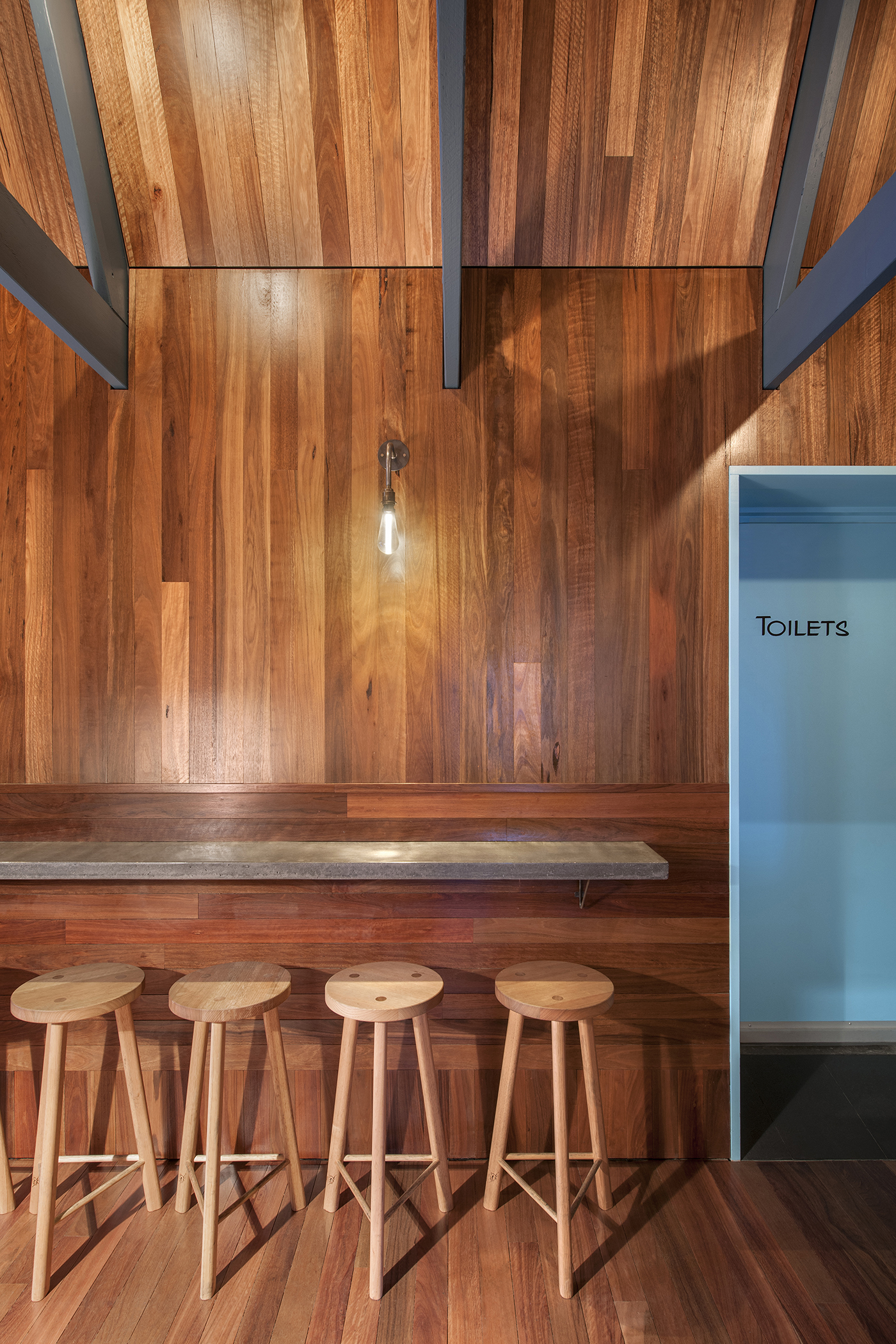 The Pink Moon Saloon is built with native Australian materials, such as Spotted Gum, Tasmanian Oak and Ironbark.