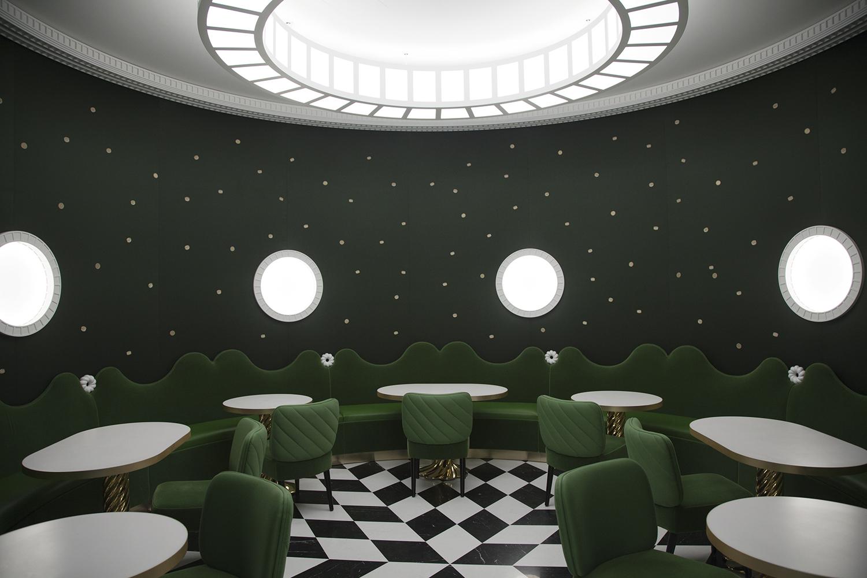 Ladurée patisserie Geneva checkered floor