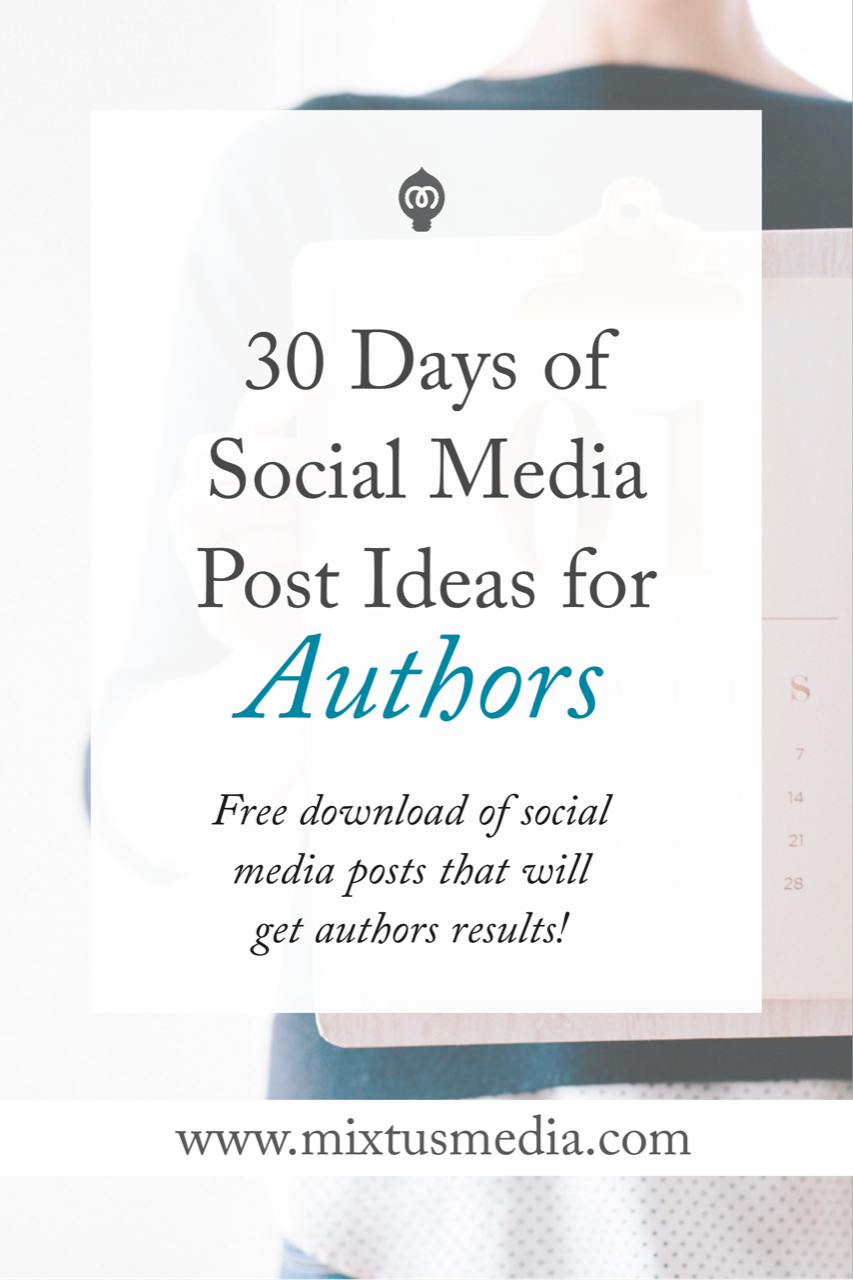 I know it can be difficult to figure out what to post on social media so here's a FREE download that provides 30 days worth of social media post ideas specifically for authors to see results.