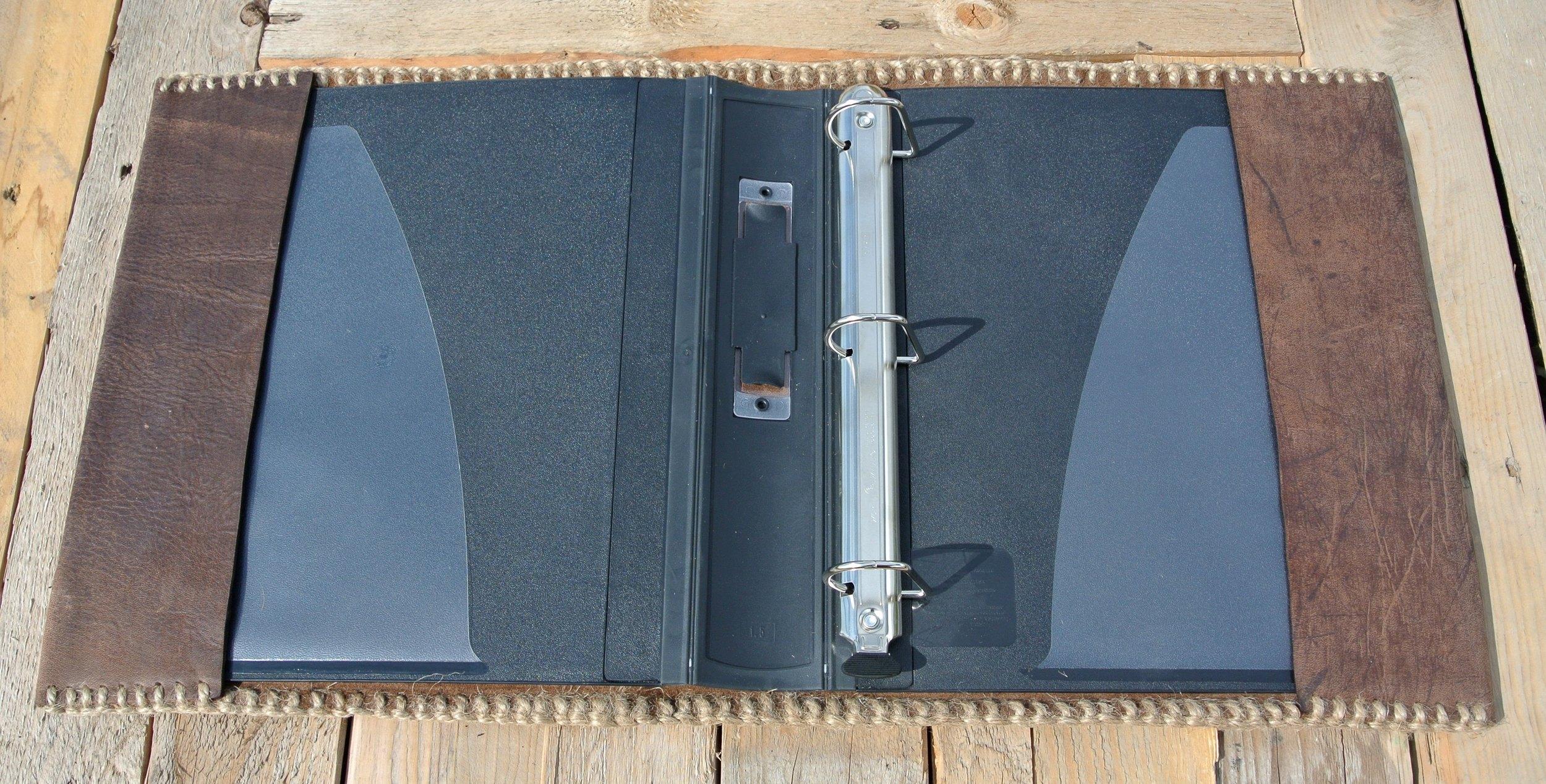 Circle M-Brand Leather Binder - open.JPG
