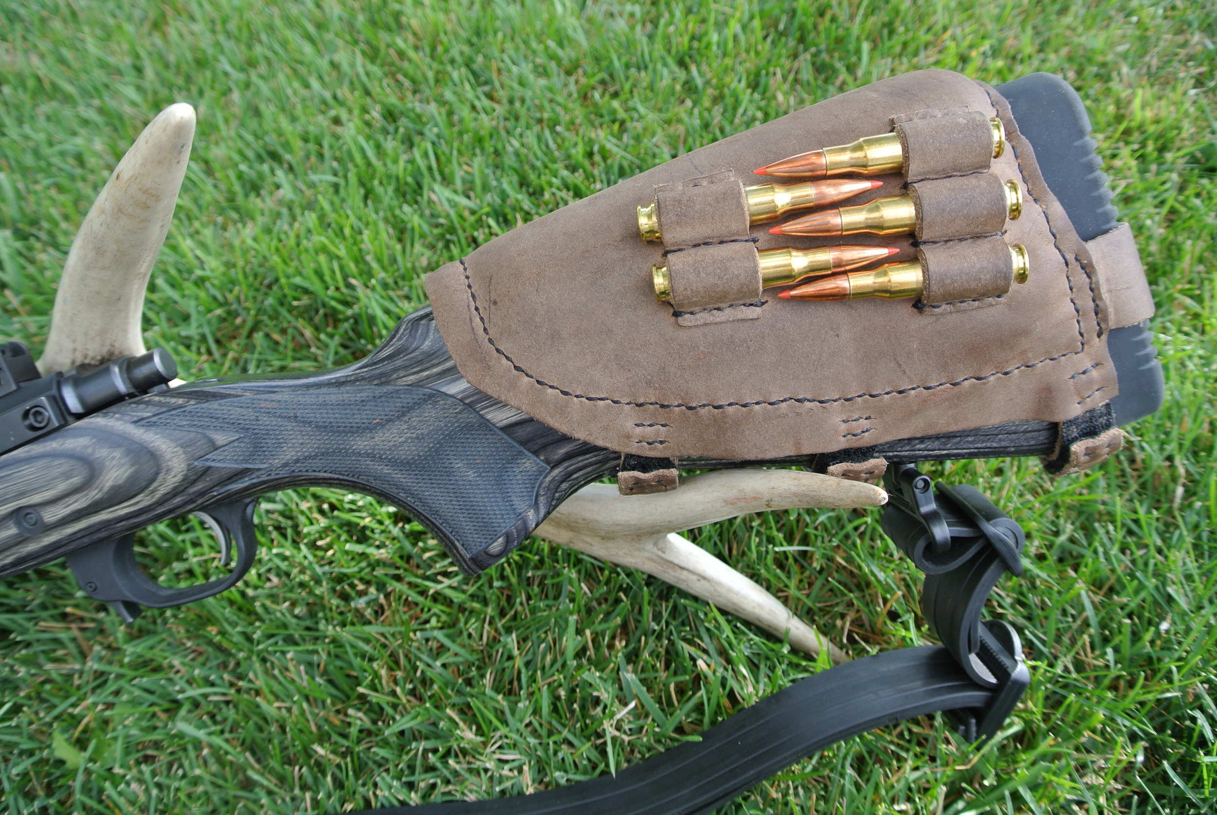 Circle M-Brand Leather Buttstock Cuff - ammo - Ruger Scout.JPG