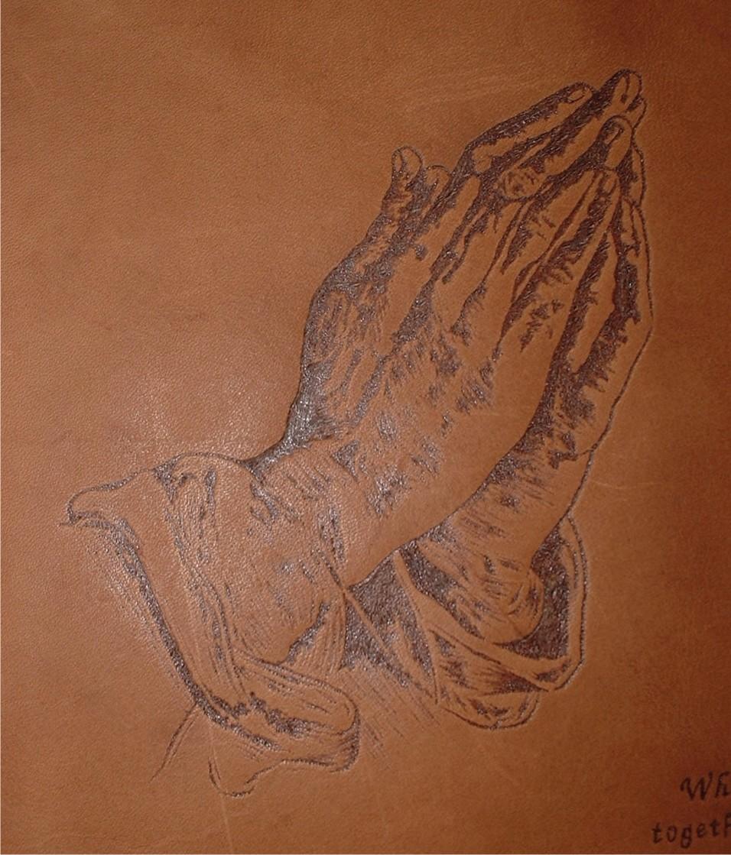 Circle M-Brand heat engraving Prayer Hands.JPG