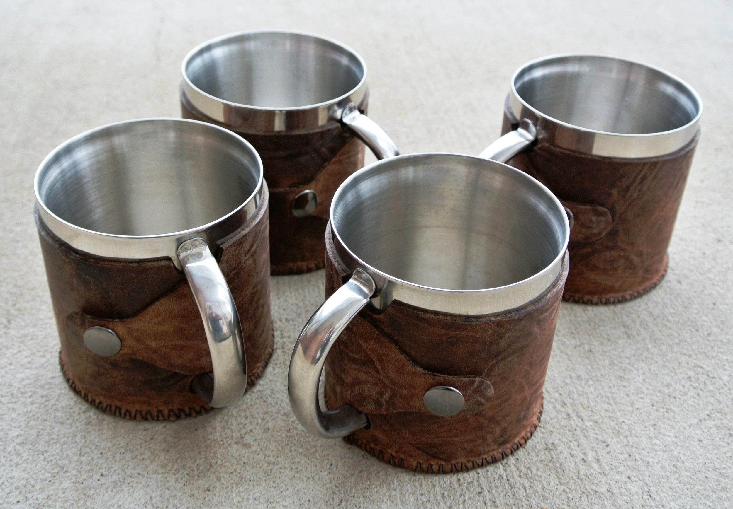 Leather Covered - Camping MUGS!