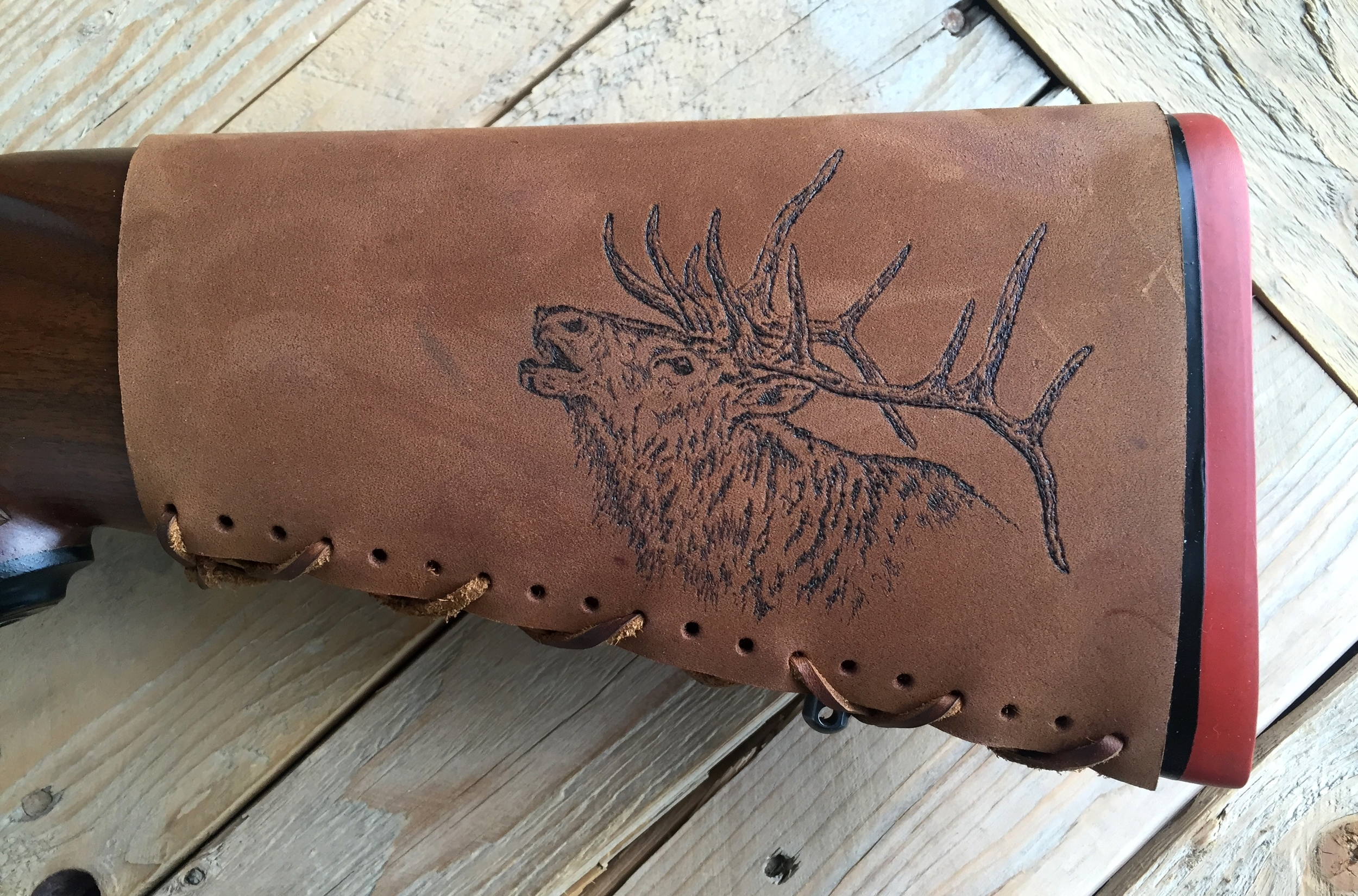 Circle M Brand - buttstock cuff with engraved elk.JPG