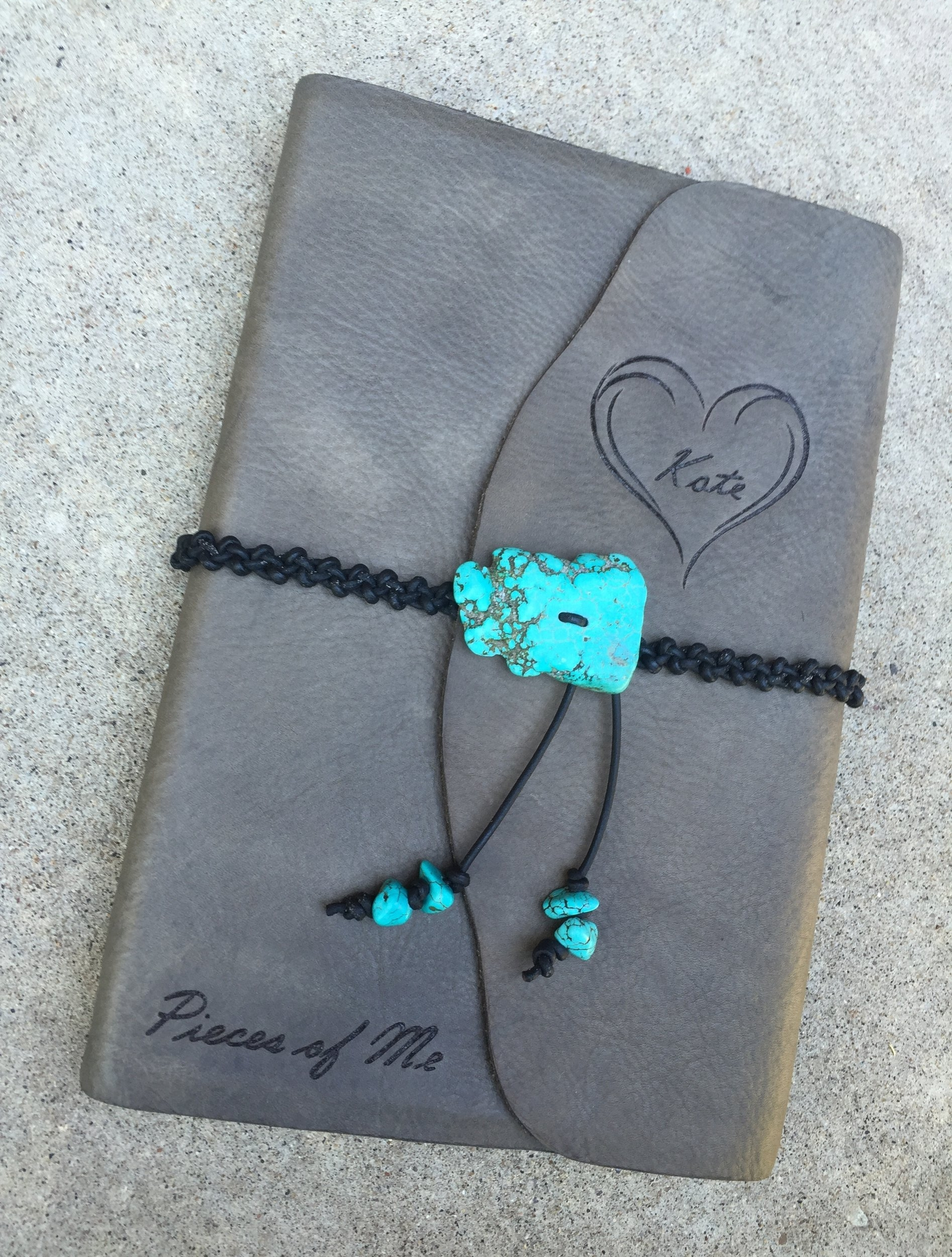 Circle M Brand - large Journal with turquoise and custom heat engraving.JPG