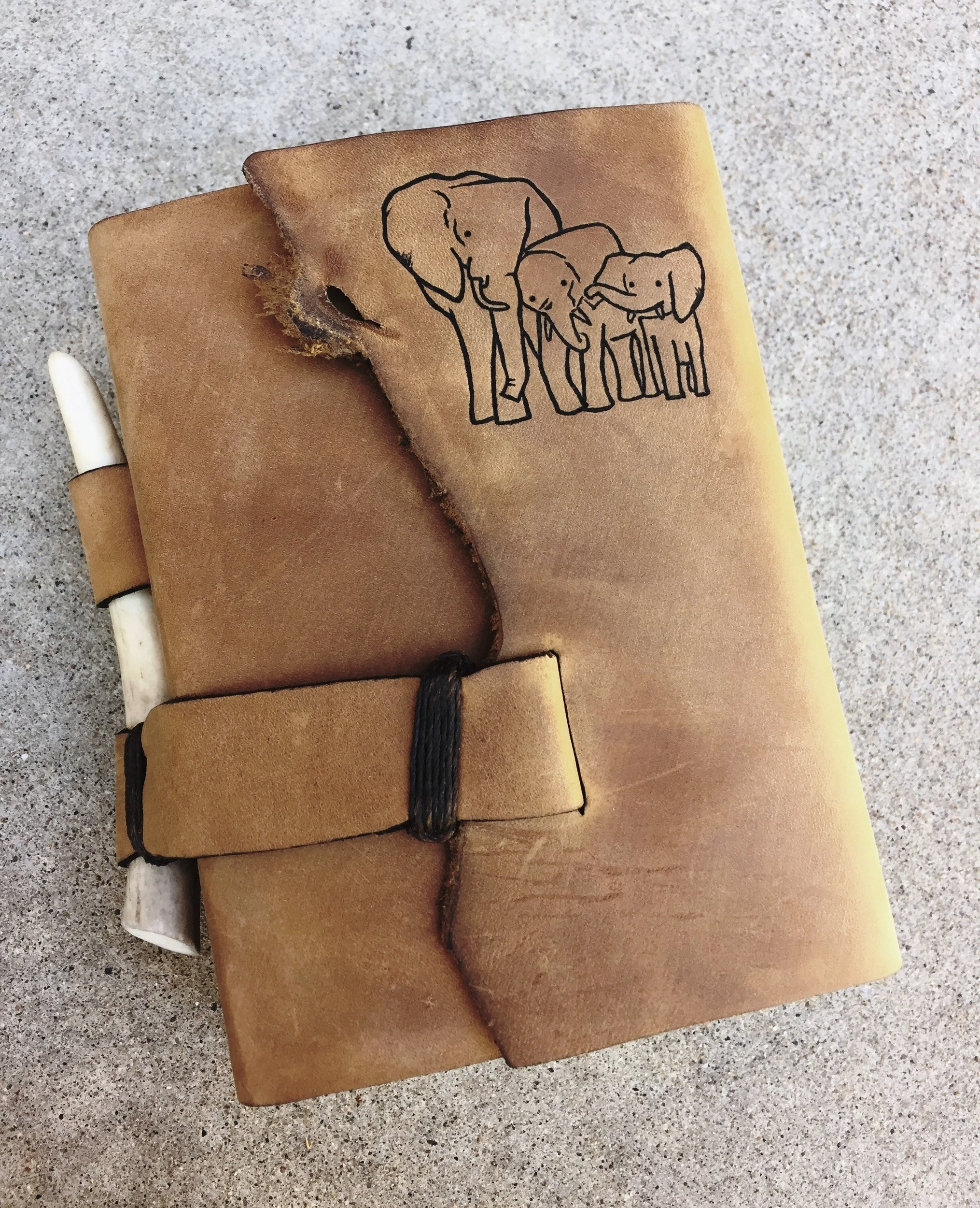 Circle M Brand - LDS compact Quad Scriptures with Antler and Elephants engraving.JPG