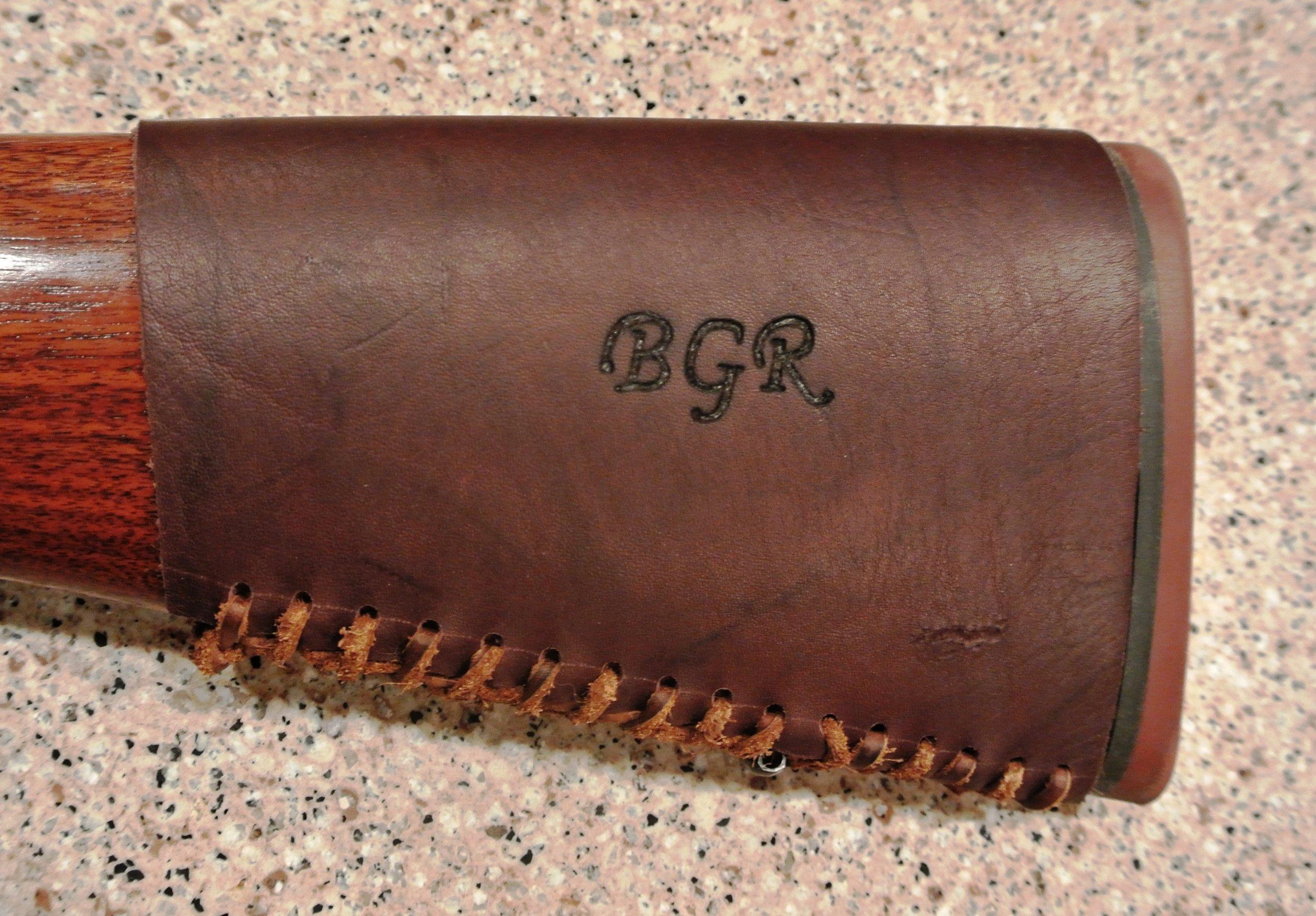 Circle M Brand - (Buttstock Cuff) heat engraving initials BGR.JPG