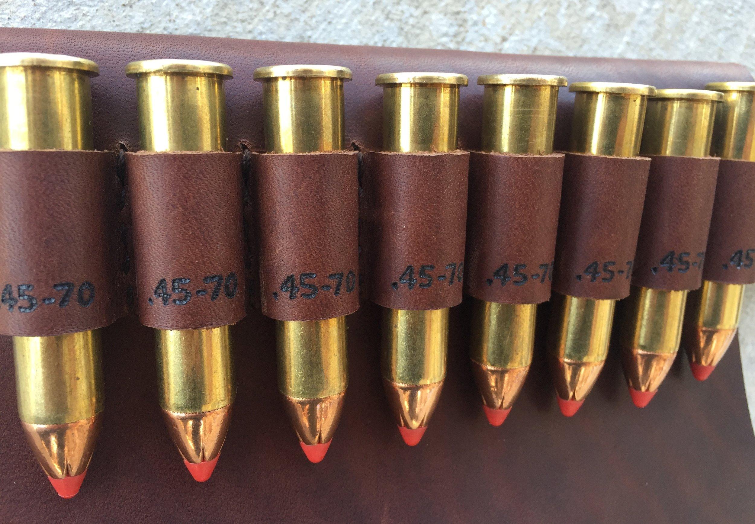 Circle M Brand - heat engraving .45-70 onto ammo loops.JPG