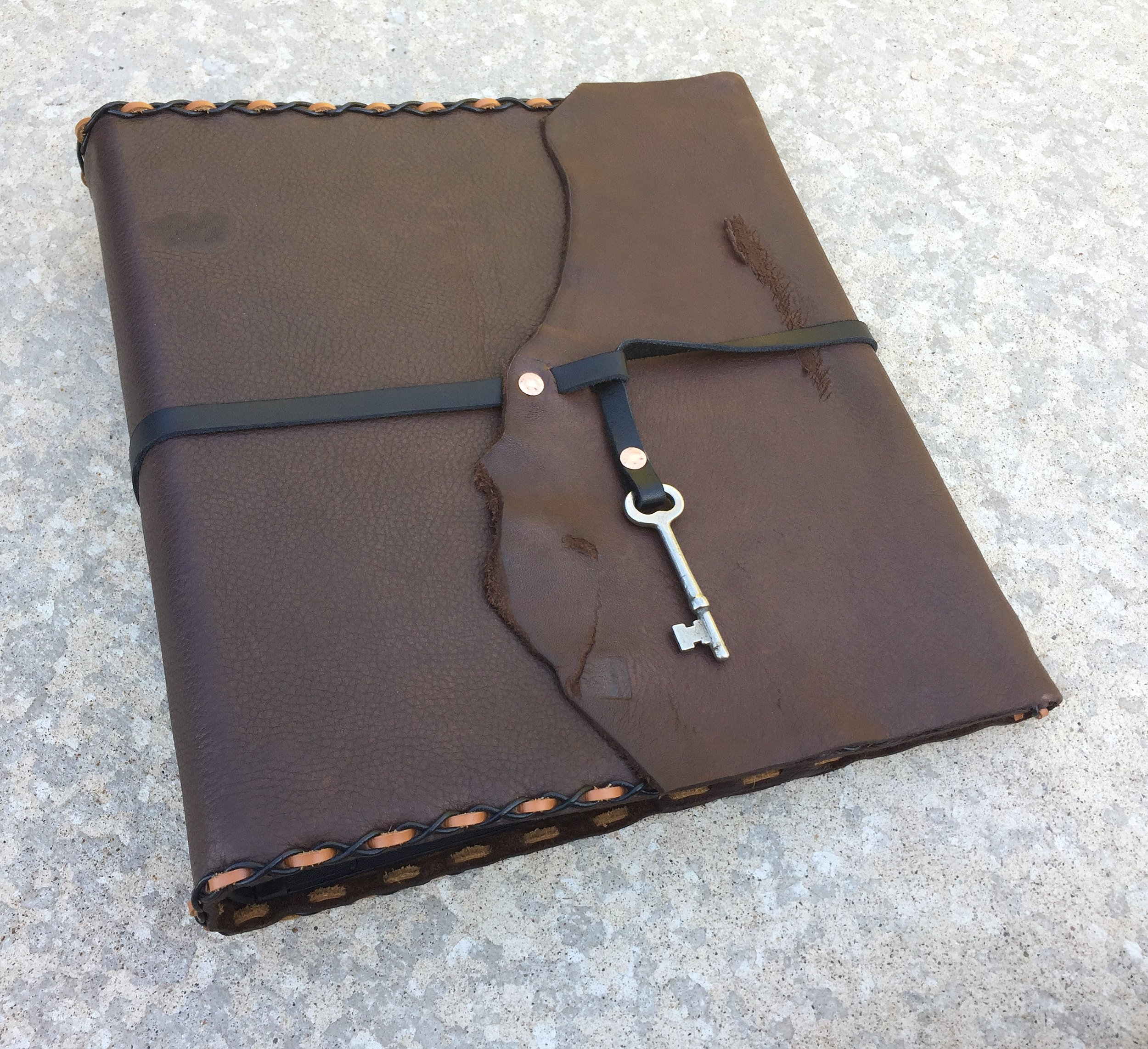 "FOR SALE - Handmade Leather Binder Cover  (above) 1 1/2"" three ring binder included. Antique key pendant.  $95  ( $19  shipping within the US & sales tax applies to UT residence). Custom Heat Engraving can be added! Email me at:  CircleM@outlook.com"