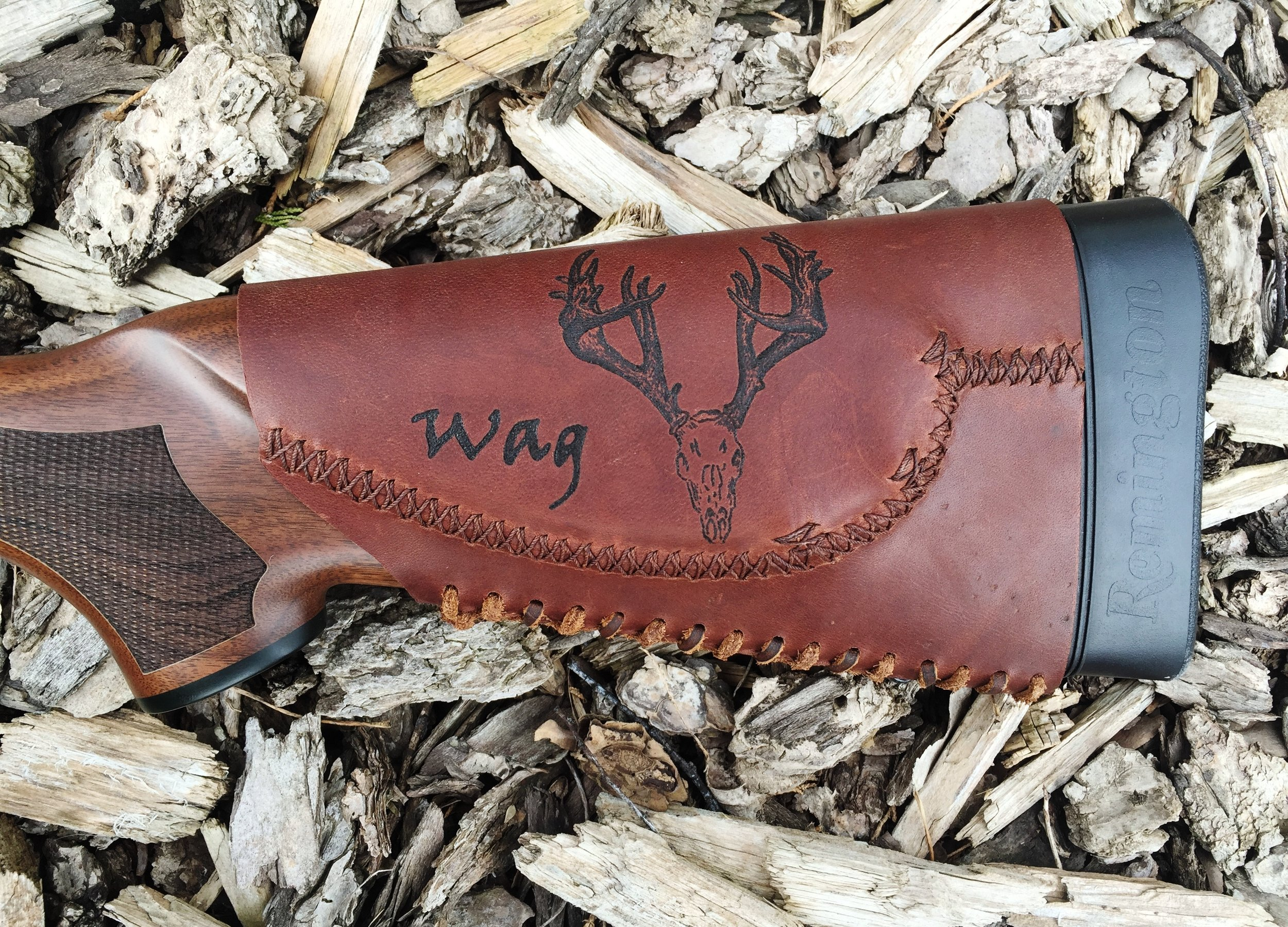 Circle M Brand - monte carlo style leather Buttstock Cuff with Pyrography european skull.JPG