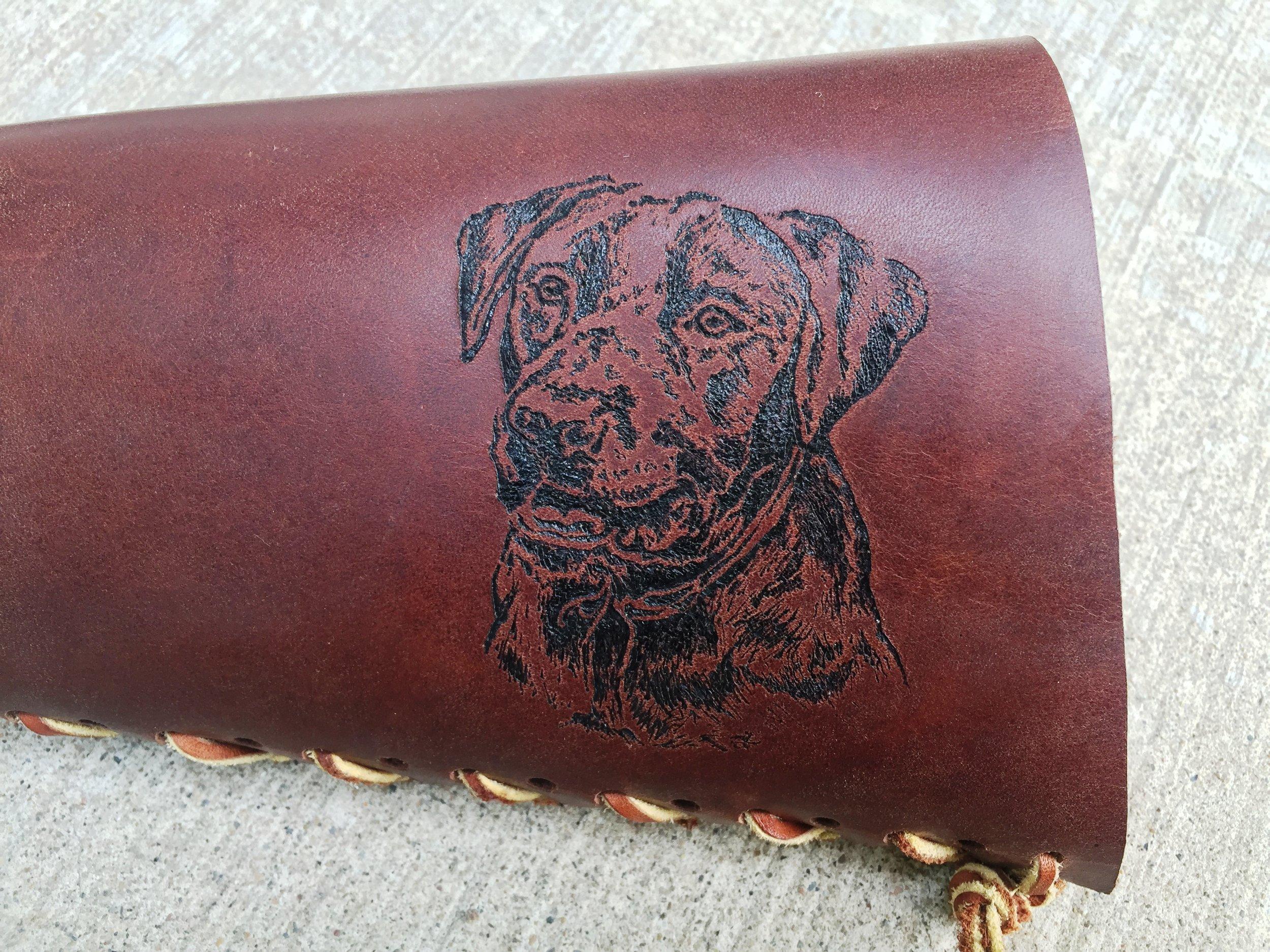 Circle M Brand - DOG heat engraving on leather.JPG