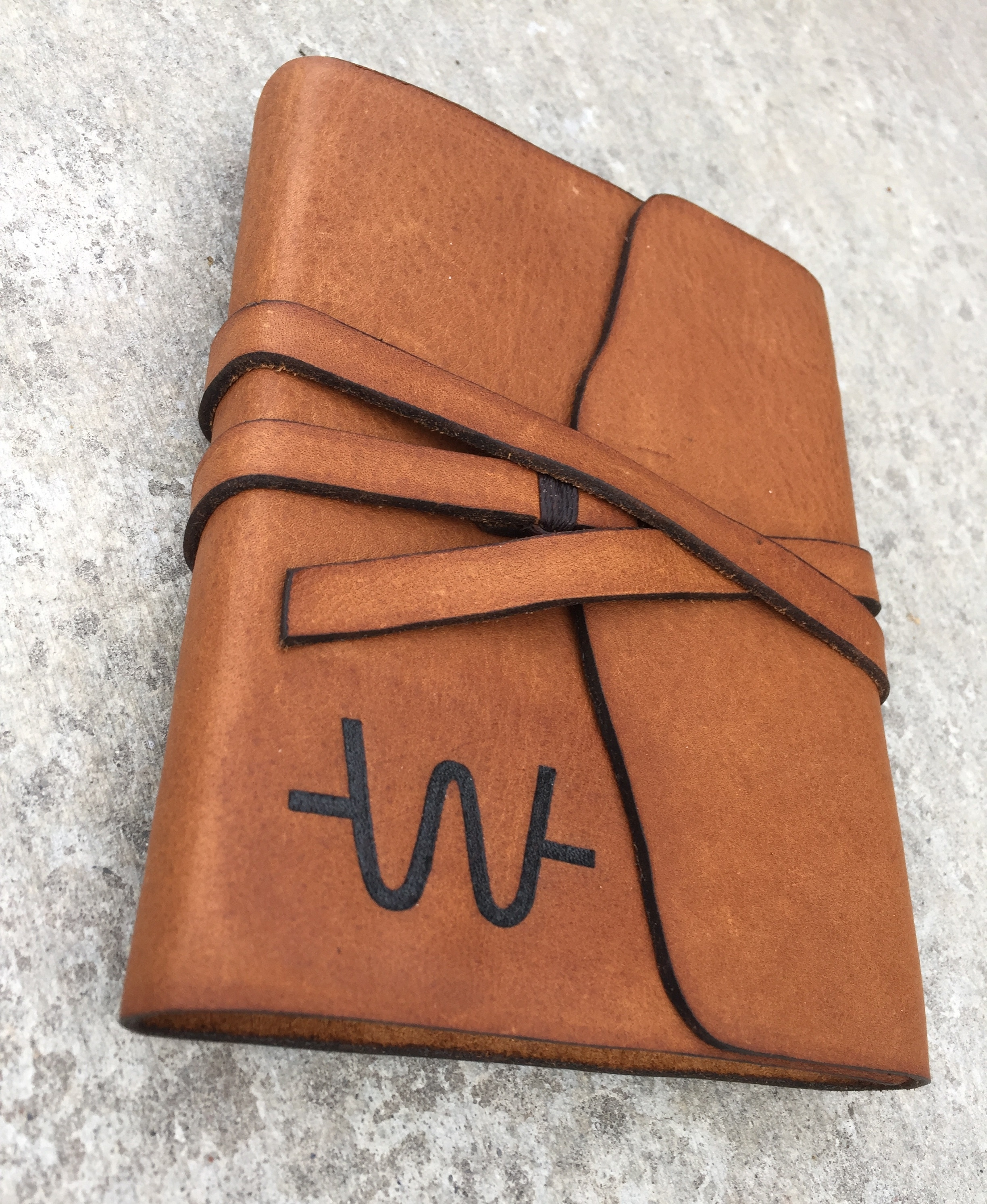Circle M Brand - handmade leather Journal with Pyrograved cattle brand.JPG