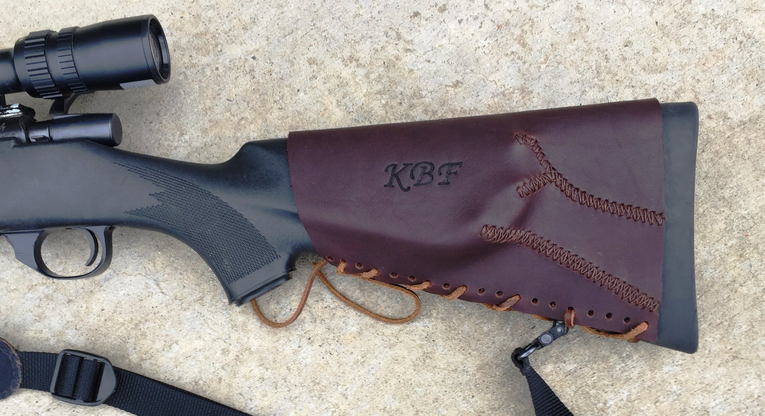 Circle M Brand - monte carlo style leather Buttstock Cuff with KBF initials Heat Engraved.JPG