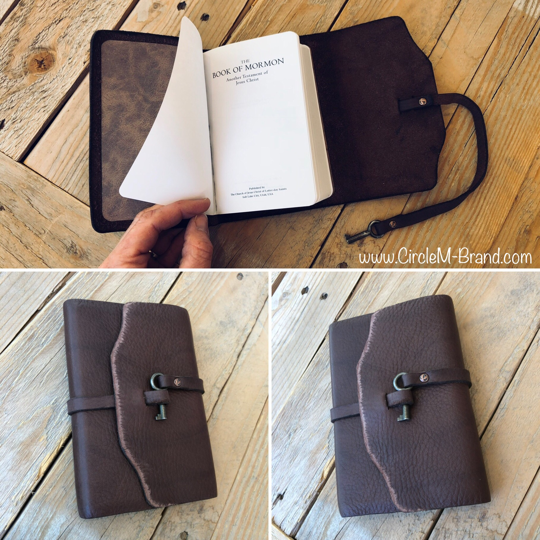 FOR SALE - Handmade Leather Book of Mormon  (above)  Compact  (3½x5) - not thumb indexed with glued binding.  $58  ( $14  shipping & sales tax applies to UT residence) Email me at:  CircleM@outlook.com