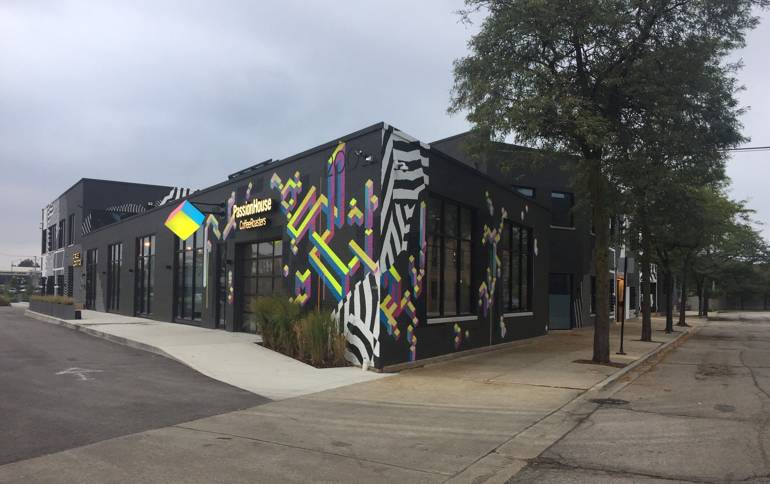 PASSION HOUSE COFFEE ROASTERS, EXTERIOR MURAL INSTALLATION, CHICAGO - 2019