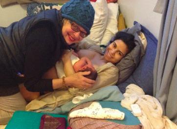 Me at a homebirth.