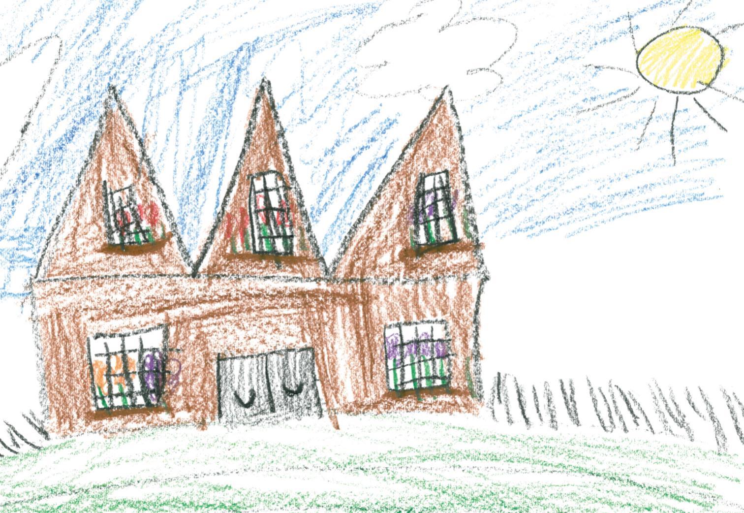 -- 3rd grader's rendering of her new school