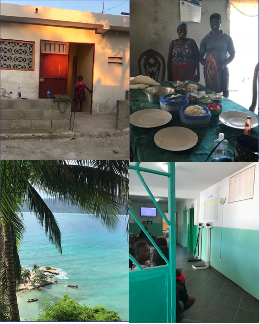 "Some photos from my December 2016 course planning trip to Haiti. Clockwise from top left: The space where children Work serves attend ""office hours"" to work on homework and build tools for educational success; Camita and Marc Noel, the husband and wife team who will be our chef and driver, respectively, during our stay; an idyllic scene from Jacmel; the waiting area at Hopital Fontaine the local clinic for Menelas where we'll be shadowing and helping out."