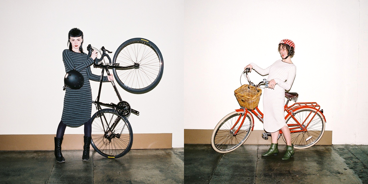 When Opposites Attract: Caitlin McCall of Quick Study and Leah Benson of Gladys Bikes both wearing the  24 Hour Dress .