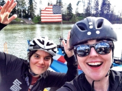 Amanda and I crossing the Willamette River! #gladysbikesit