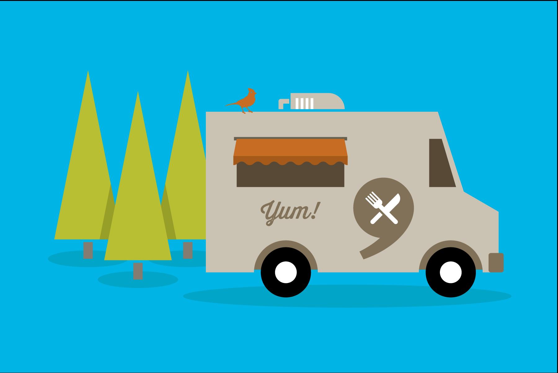 Portland food truck illustration by Mark Mularz of Fetch Design.