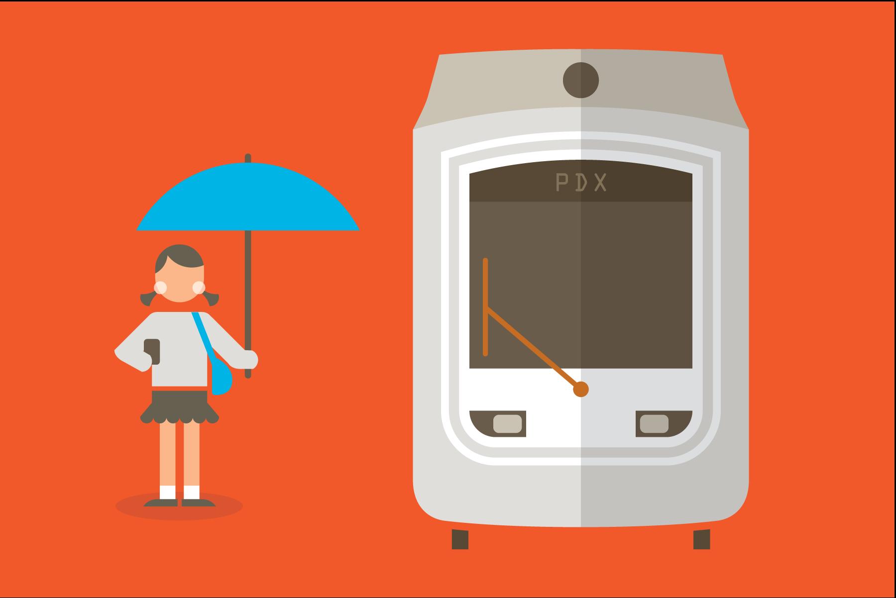Portland streetcar illustration by Mark Mularz of Fetch Design.