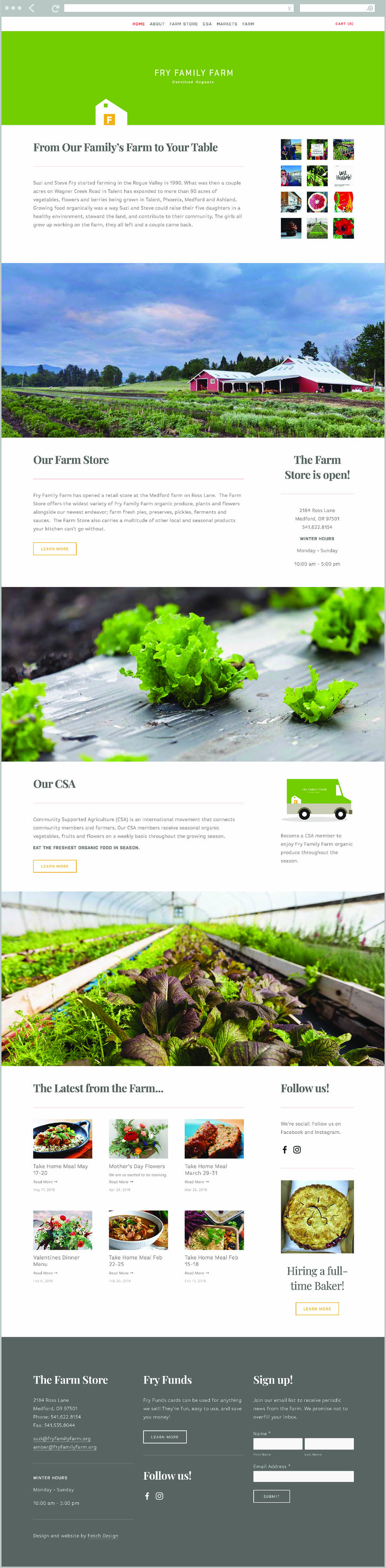 Fry Family Farm website by Fetch Design. The farm is located in Jacksonville, Oregon.