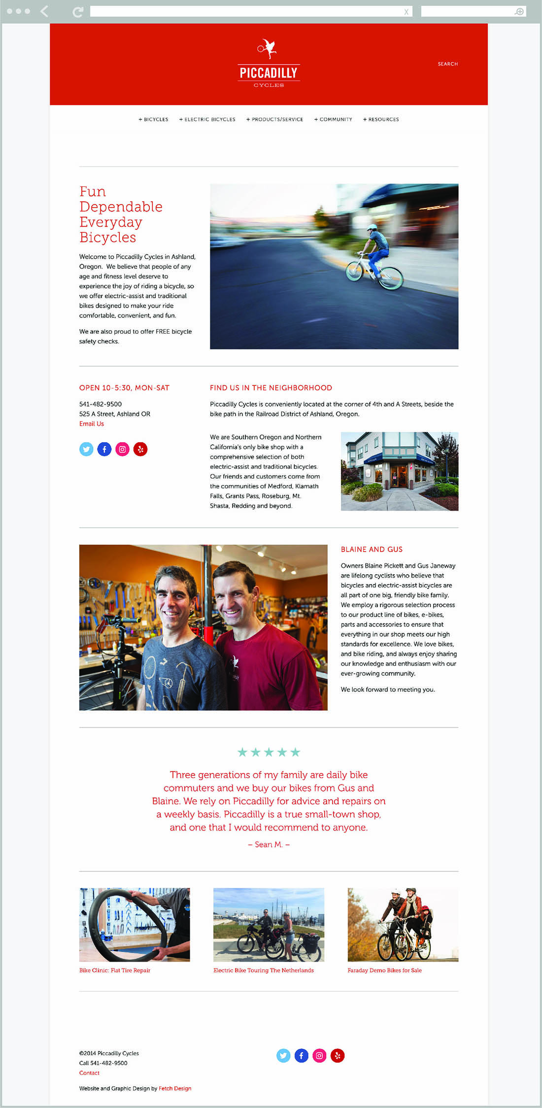 Fetch Design developed a website for Piccadilly Cycles located in Ashland, Oregon.