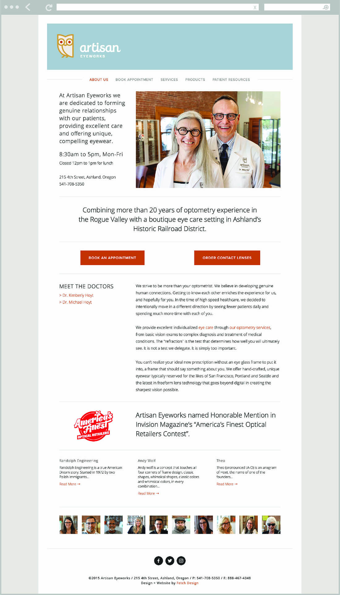 Artisan Eyeworks visual identity and website by Fetch Design, Portland, Oregon.
