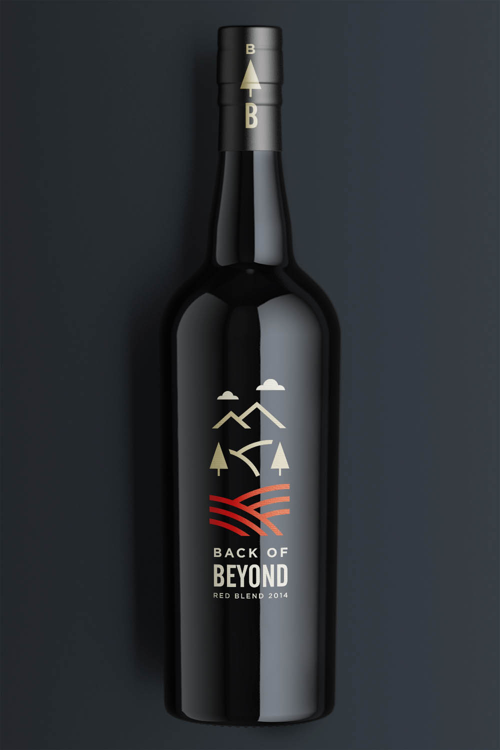 Back of Beyond wine bottle label design