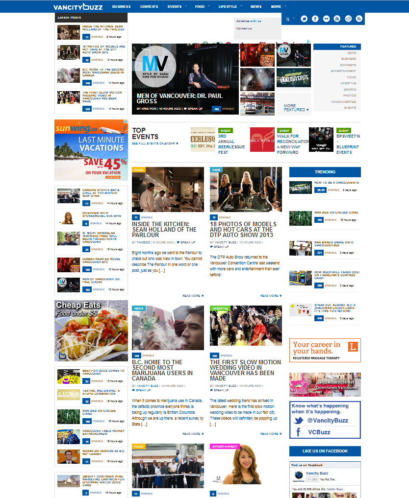 We made it to the front page of Vancity Buzz on Sep 19, 2013! YAY!