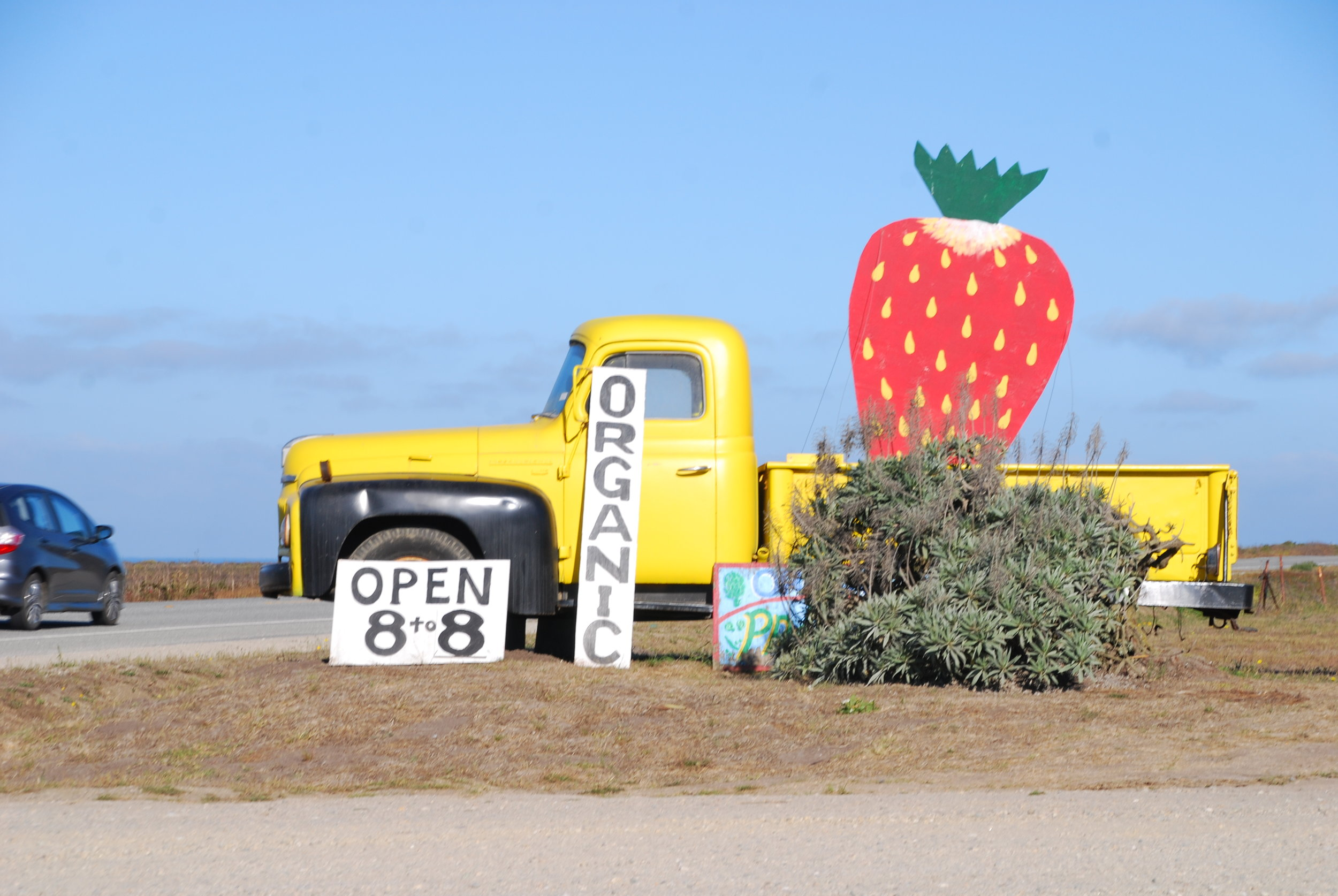 Farmers sell their fruits and vegetables on highway 1.