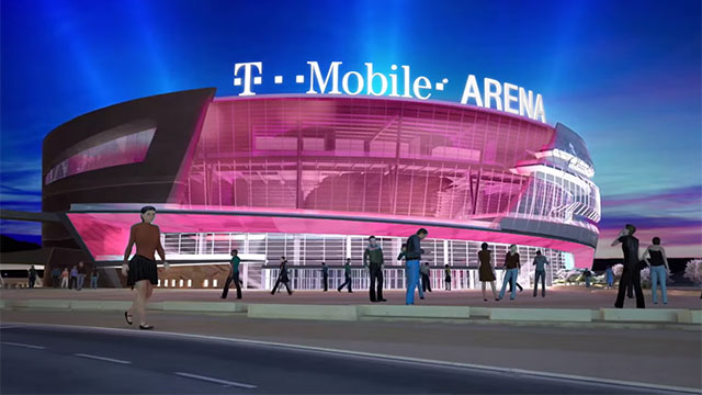 T-Mobile Arena behind New York New York Hotel & Casino