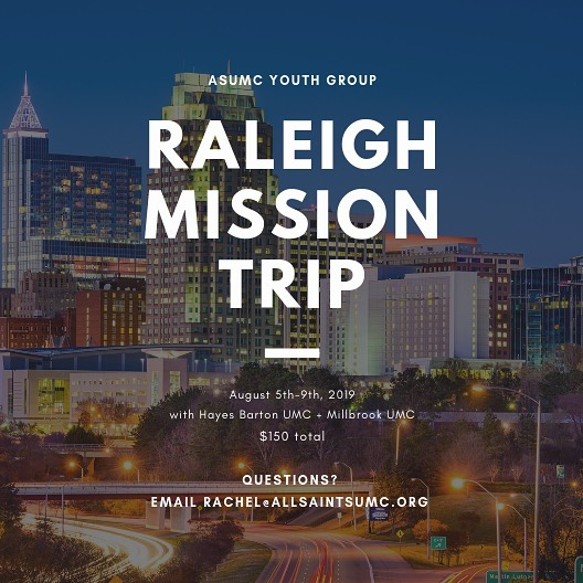 Our Youth Mission Trip is right around the corner! Join us August 5th-9th as we join other local youth groups to serve the Triangle community! Check out allsaintsumc.org for more info.