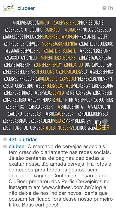 CluBeer destacou a lista em post no Instagram