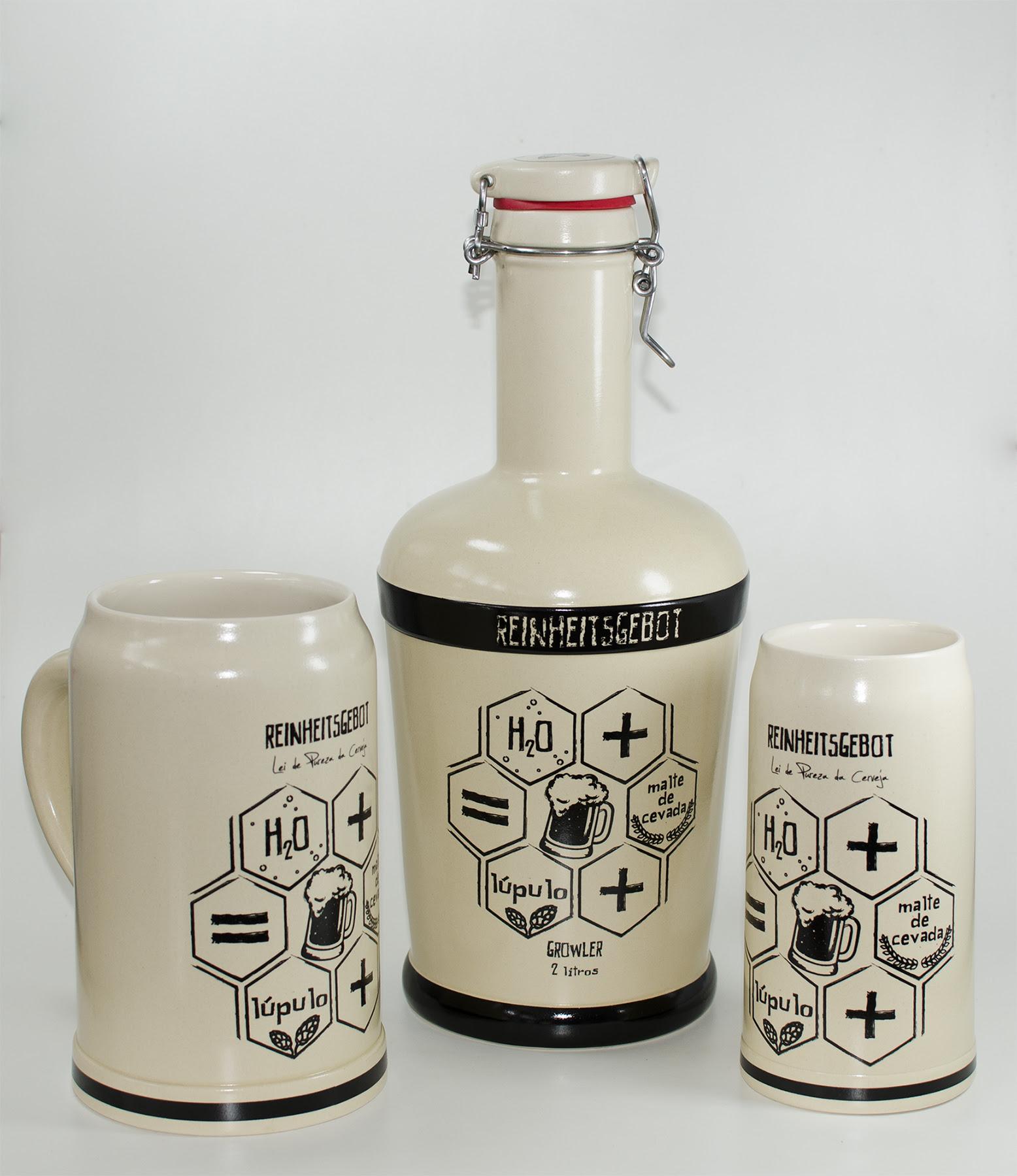 Em cerâmica, garrafão retornável e canecos (Foto: Divulgação)