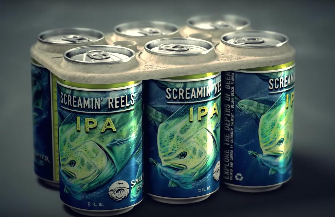 A embalagem biodegradável para carregar as seis latas de cerveja (Foto: Divulgação)